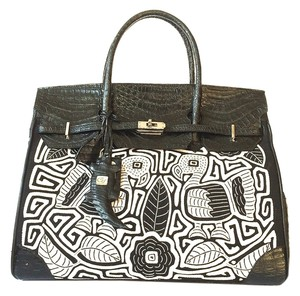 Other Crocodile Birkin Kelly Alligator Satchel in Black and White
