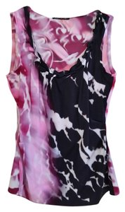 Elie Tahari Silk Blouse Top Fuscia, black and white