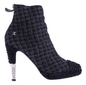 Chanel Black Grey Tweed Ankle Multi-Colored Boots
