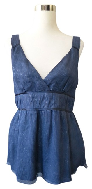 Other Sleeveless Babydoll Empire Waist Pinstripe Top Blue