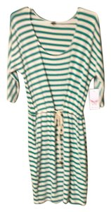 Ella Moss short dress White with teal stripes on Tradesy