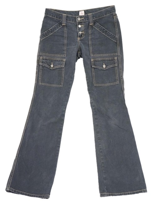 """Item - Black / Charcoal Grey Dark Rinse """" So Real"""" Faded Distressed Denim Pants. Cargo Jeans Size 28 (4, S)"""