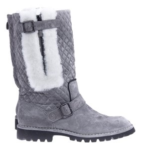 Chanel Shearing Quilted Grey Multi-Colored Boots