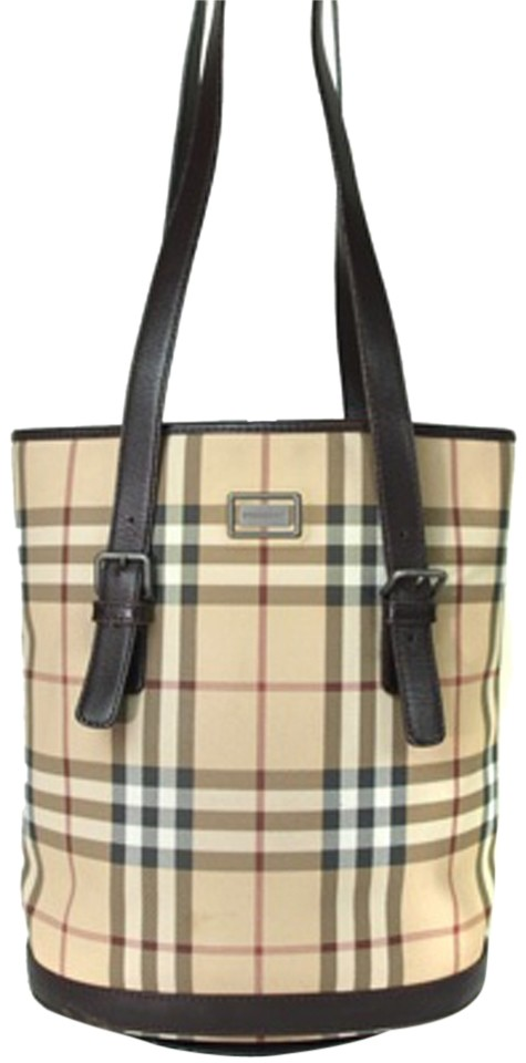 710f48c3f5cf Burberry London Nova Check Pvc Canvas Leather Beige Browns Tote ...