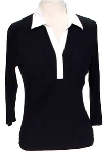 Michael by Michael Kors Mock Collared Top Black & White