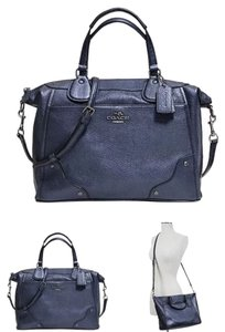 Coach Pearlized Leather Shoulder Strap Crossbody Studded Accents Satchel in Blue