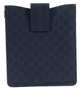 Gucci GUCCI 256575 Rubber GG Guccissima Leather Ipad Case Cover, Navy Blue