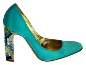 Roberto Cavalli Satin Jeweled Heel Embellished Heel Turquoise Pumps
