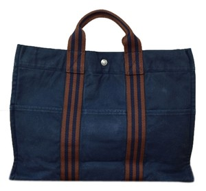 Hermès Tote in Indigo&Brown