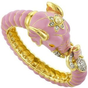 Kenneth Jay Lane Kenneth Jay Lane Elephant Pink Enamel Bracelet