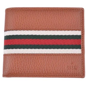 f899fb008964 Gucci Gucci Men's Pebbled Tan Leather Red Green Stripe Bifold Wallet 231845