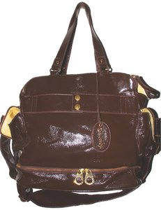 Bumble Collection Leather Large Honey Brown with 18K Gold Plated Hardware Diaper Bag