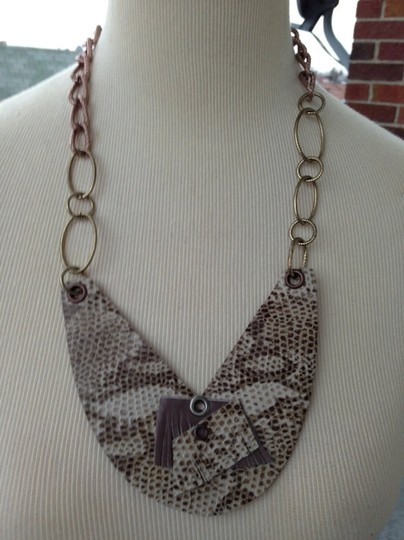 Other One of a kind handmade Beautiful snakeskin leather bib necklace