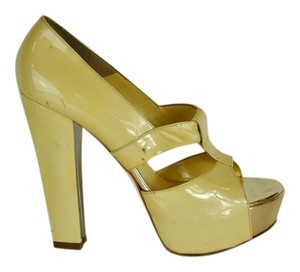 Versace Patent Leather Open Toe Platform Beige Pumps