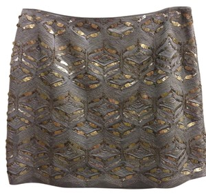 Elie Tahari Beaded Mini Size 4 Mini Skirt Gray / Silver / Gold