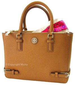 4431a2de4463 Tory Burch Tote Belt Buckle Detailing Shoulder Strap Saffiano Leather Logo Robinson  Robinson Collection Satchel in