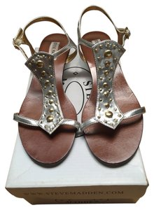 Steve Madden Wedge Flats Gold Hardware T-strap Silver Sandals