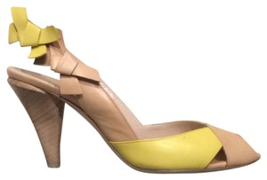 Salvatore Ferragamo Yellow And Nude Pumps