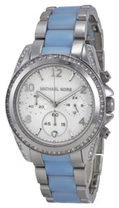 Michael Kors Blair Chronograph Silver Dial Stainless Steel Chambray Acetate Ladies Watch MK6138