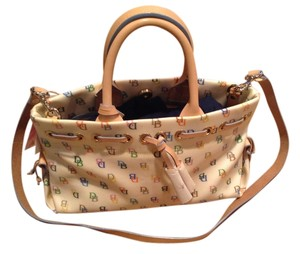 Dooney & Bourke Leather Satchel in white with multicolor DB pattern