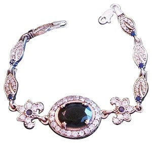 Ladies Blue Sapphire and White Topaz 925 Sterling Silver Art Deco Style Bracelet