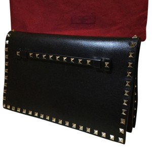 1c5ad8fa479 Valentino Studded Leather Large Flap Front Flap Wristlet Black Clutch