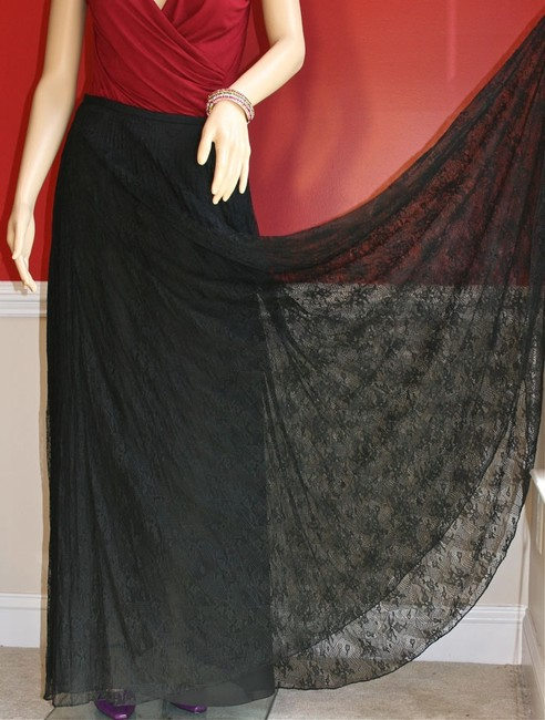 Kay Unger Lace Women Maxi Skirt Black