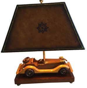 Maitland-Smith Handcrafted Classic Wooden Car* Antique Model Table Lamp - Replica Design of Studebaker 20's Roadster.