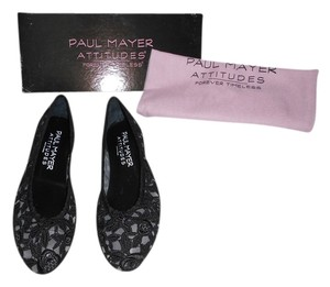Paul Mayer Bingo Lovely Embroidered Lace Design Black Flats