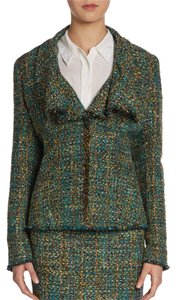 Lafayette 148 New York Boucle Tweed Wool Emerald Forest Office Classic Waterfall Hem Olive Green Blazer