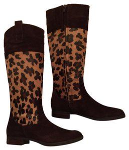 Ralph Lauren Brand New Brown Suede/Leopard Calf Hair Boots