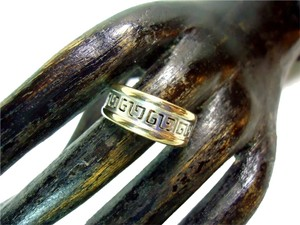 Fabulous 10k White & Yellow Gold Versace Design Style Band Ring / 10k Multi Gold Greek Key Stack Ring