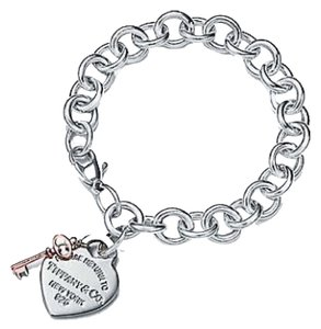 Tiffany & Co. Return To Tiffany Heart Tag Key Bracelet In Sterling Silver And RUEBDO Metal. Retails For $400 In Store.