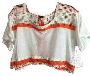 Free People White And Orange Cotton Crochet Amazing Detail Is Roomy So Can Fit Larger Nwe Never Worn Top white, orange