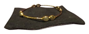 Other Hammered Gold Tone 4 Station Gemstone Bangle Bracelet, 2 1/2