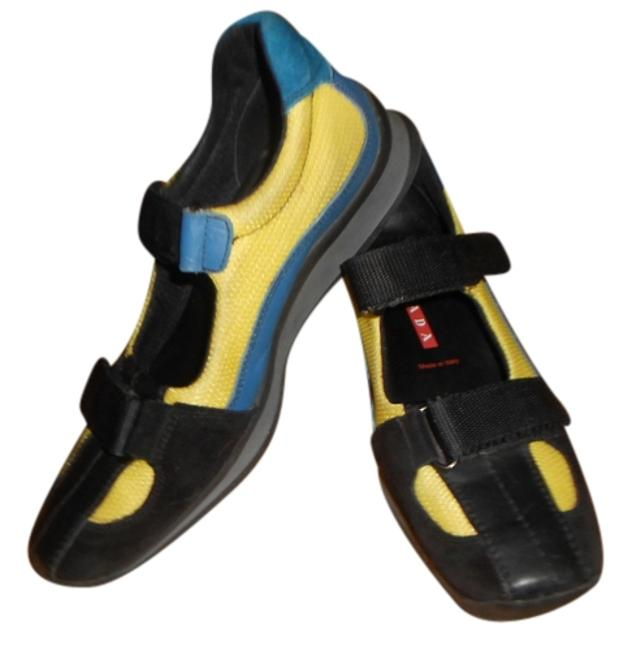 Item - Multi Color Blue & Black Suede Blue Leather with Yellow Mesh Velcro Sneakers Size US 8 Regular (M, B)
