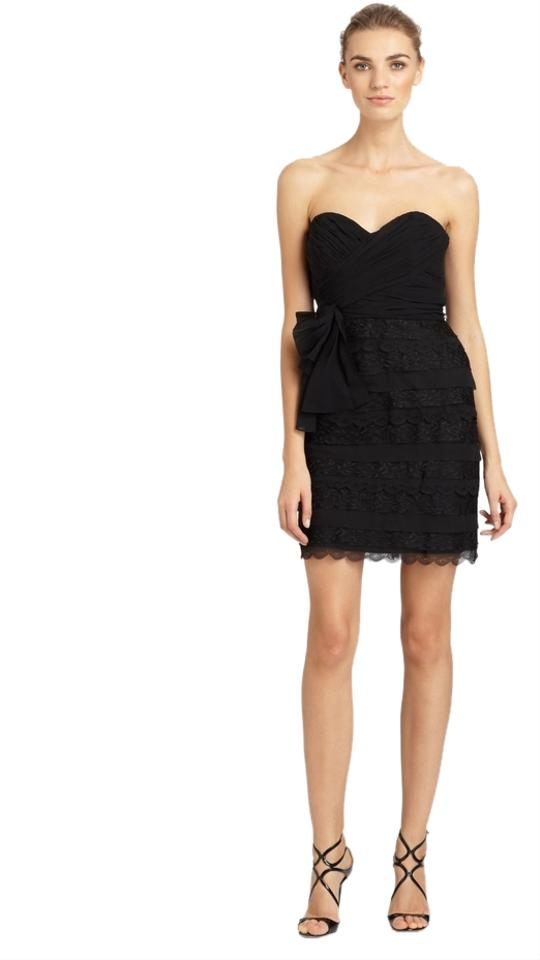 Badgley Mischka Black New Lace Trimmed Strapless Above Knee Cocktail Dress Size 10 M 62 Off Retail