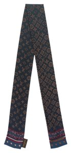 Louis Vuitton Navy, brown and multicolor Louis Vuitton LV monogram silk bandeau New