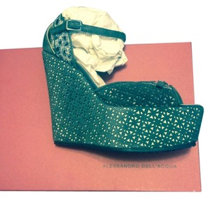 Alessandro Dell'Acqua Africa Silver-Suede Antracite Wedges