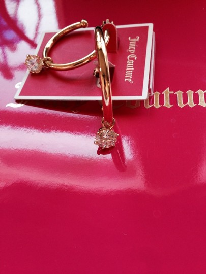 Juicy Couture 100% Authentic Juicy Couture Solitare Charmy Hoop With Solitaire Gold Plated EarringsYJRUOE94