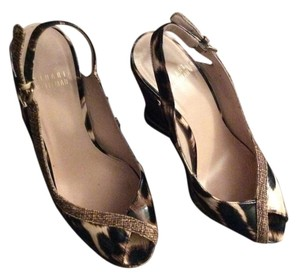 Stuart Weitzman Black and brown animal print Wedges