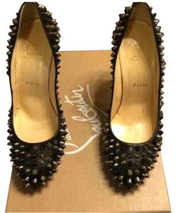 Christian Louboutin Black with gold/silver spikes Pumps