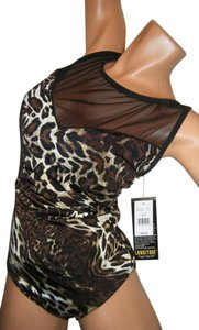 Longitude SWIMSUIT 12 NWT BY LONGITUDE ANIMAL; PRINT W MESH AT NECKLINE SLIMMING