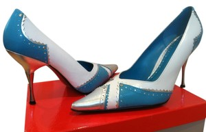 Guess By Marciano Turquoise White and Silver Pumps