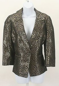 St. John St. John Couture Black Gold Metallic Crystal Button Blazer B25
