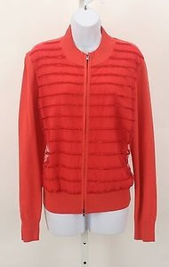 St. John John Mesh Beaded Overlay Zip Front Cardigan B25 Sweater