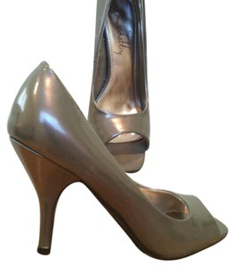 Sam & Libby Open Toe Pewter Pumps