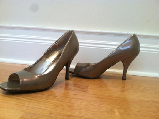 Sam & Libby Open Toe Heels Spring Pewter Pumps