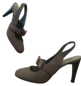Ann Marino A/m Slingbacks Heels Summer Spring Brown Pumps