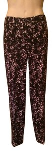 Ann Taylor Trouser Pants Black and Ivory Floral
